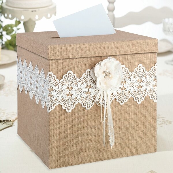 Rustic Burlap and Lace Card Box by Lillian Rose