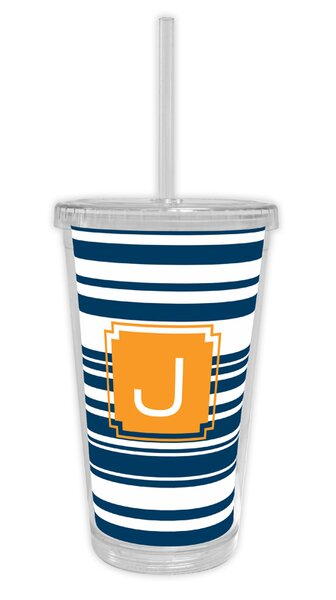 Block Island Single Initial Beverage 16 oz. Plastic Travel Tumbler by Dabney Lee