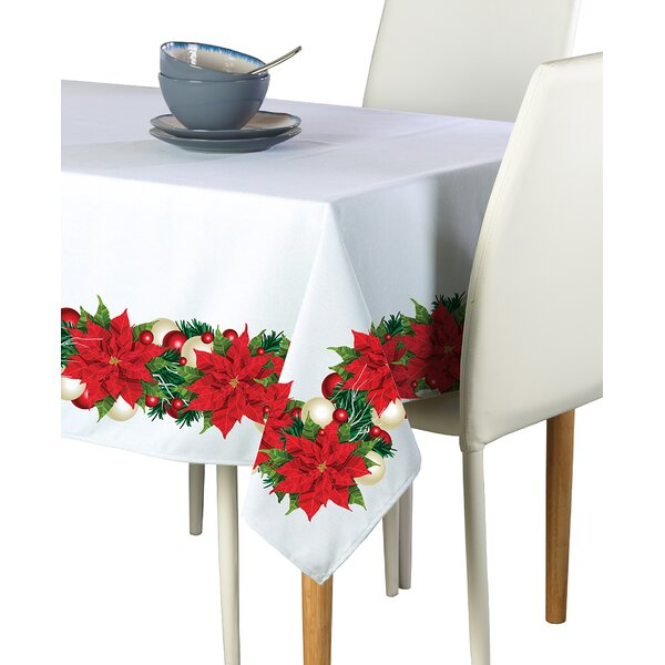 Encarnacion Christmas Poinsettia Border Tablecloth