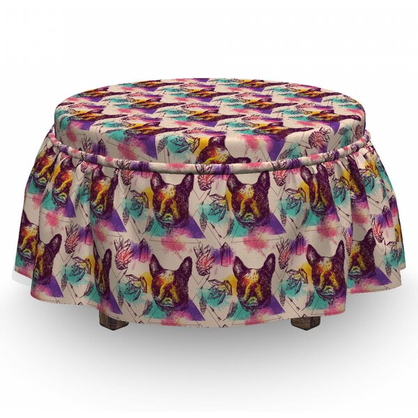 Dog Lover Crystals 2 Piece Box Cushion Ottoman Slipcover Set By East Urban Home