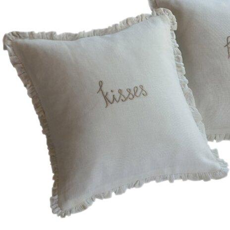 Kisses Toss Linen Throw Pillow by Taylor Linens