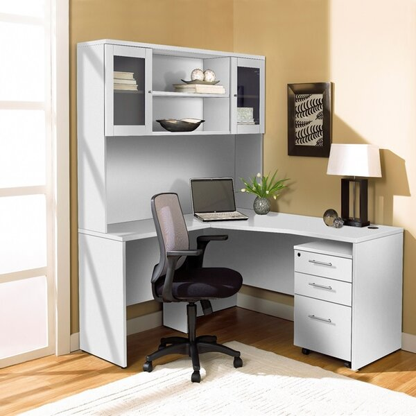 L-Shape Executive Desk with Hutch by Haaken Furniture