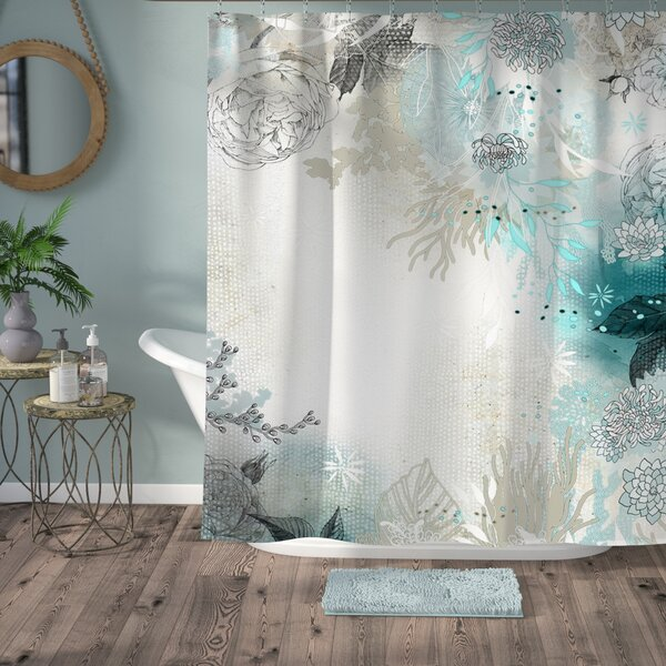 Holley Seafoam Shower Curtain by Bungalow Rose
