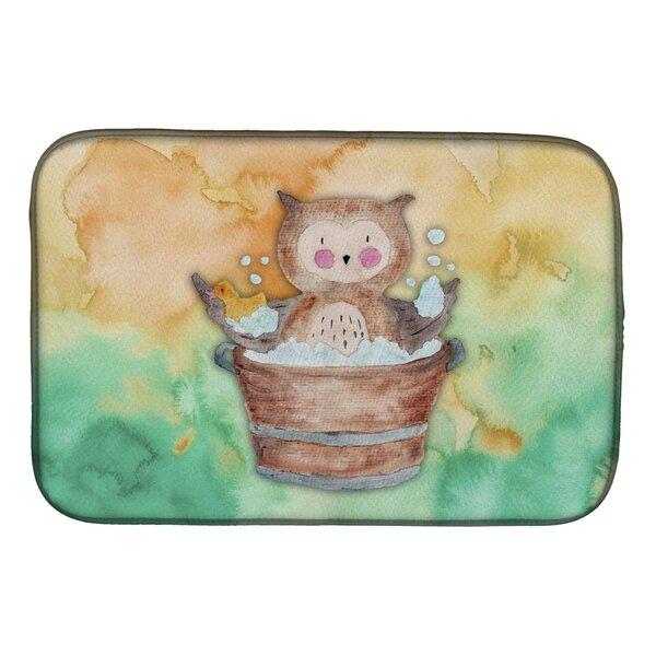 Owl Bathing Watercolor Dish Drying Mat by Caroline's Treasures