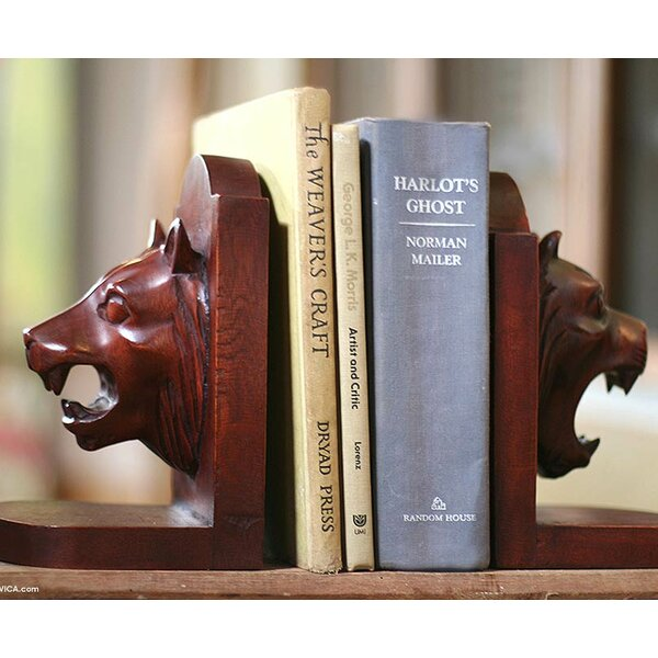 Guardian Lion Bookends (Set of 2) by Novica