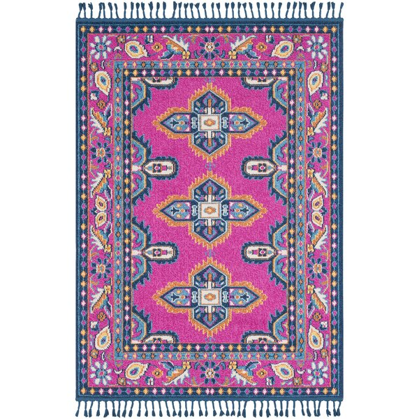 Peregrine Bright Pink/Sky Blue Traditional Area Rug by Mistana