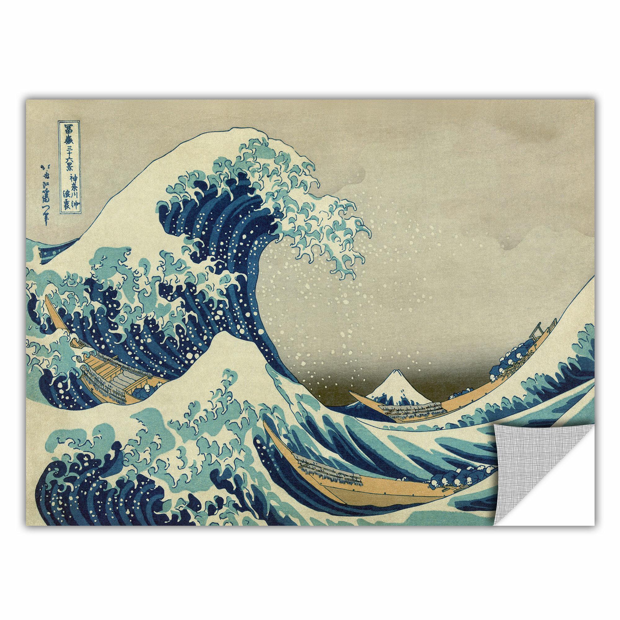 d5725e82a393 ArtWall The Great Wave Off Kanagawa  by Katsushika Hokusai Painting Print  Removable Wall Decal