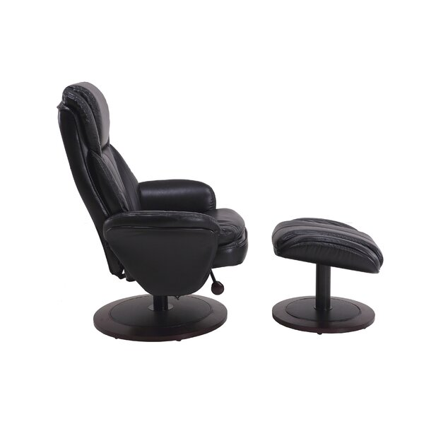 Sweetser Faux Leather Manual Swivel Recliner with Ottoman W003305296