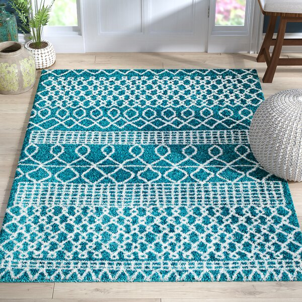 Bolt Geometric Teal/Turquoise Area Rug by Bungalow Rose
