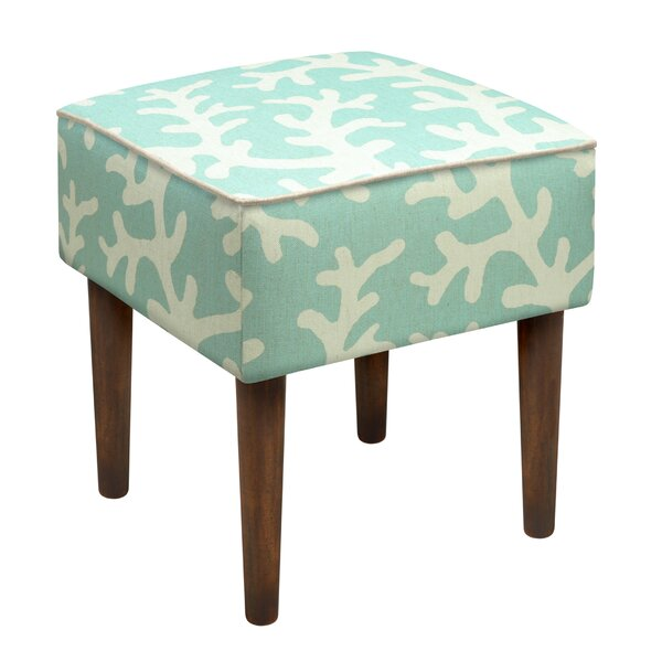 Coastal Coral Upholstered Vanity Stool by 123 Creations