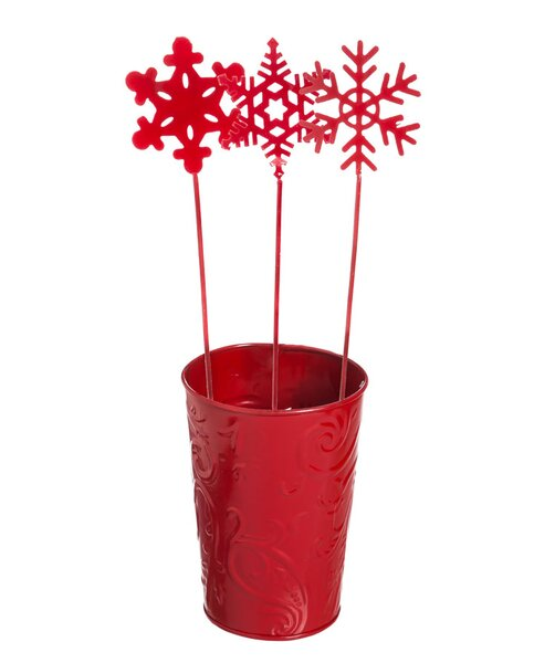 13 Piece Winter Snowflake Plant Pick and Bucket Set by The Holiday Aisle
