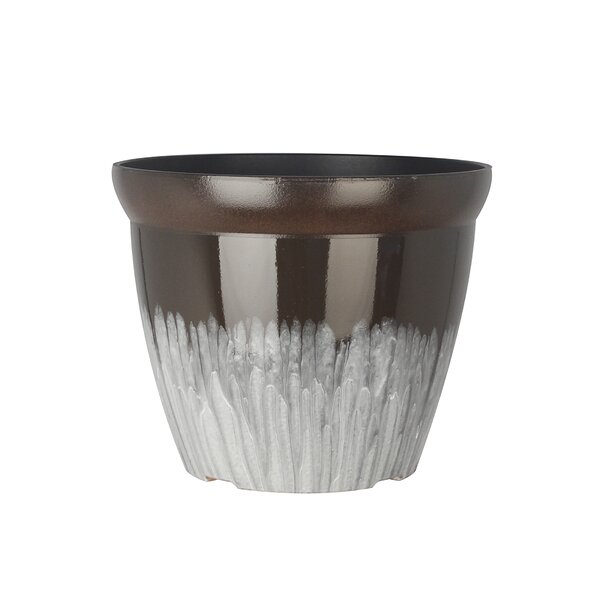 Ridley Round Drum Shiny Finish Decorative Plastic Pot Planter by World Menagerie