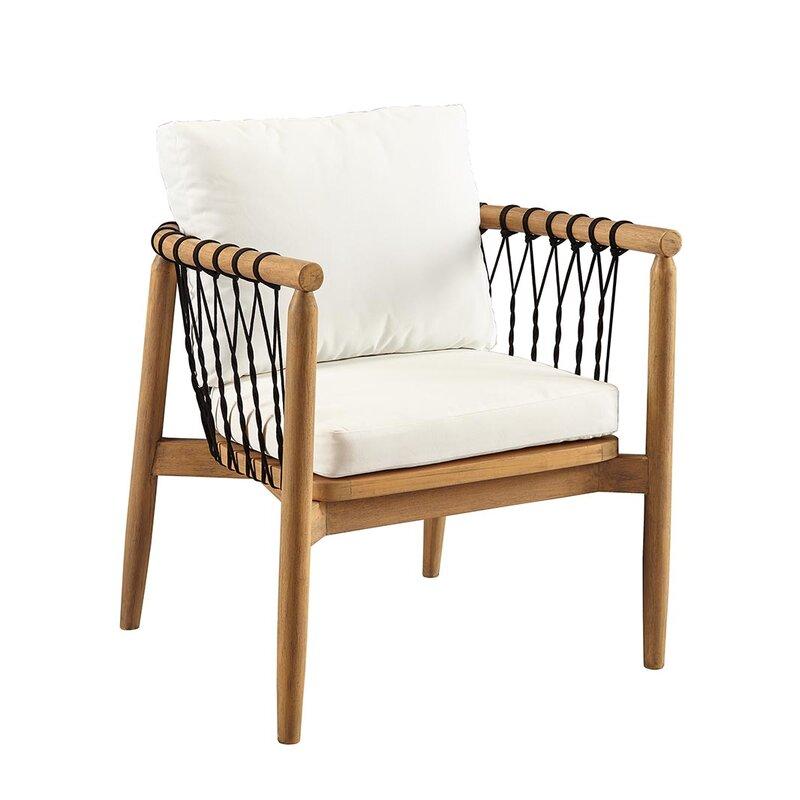 Bakerstown Teak Patio Chair with Cushions - Bungalow Rose Bakerstown Teak Patio Chair With Cushions Wayfair