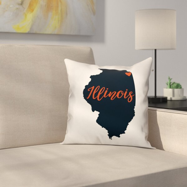 Illinois Pride Throw Pillow by East Urban Home