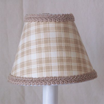 Beach Shack Plaid 7 H Fabric Empire Lamp Shade ( Screw On ) in Brown/Beige