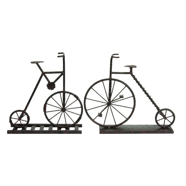 Hitz Rustic Iron 2 Piece Bicycle Sculpture Set by Williston Forge