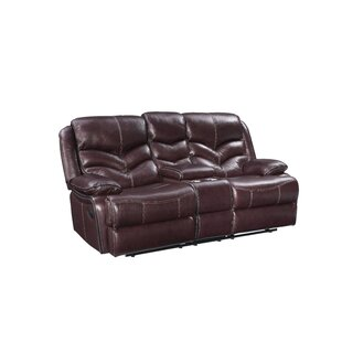 Washington Manual Motion Leather Reclining Loveseat by Three Posts