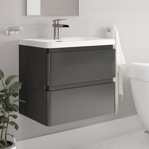 Bridge 600mm Wall-Mounted Vanity Unit Belfry Bathroom Base Finish: Gloss Grey