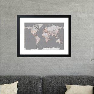 Framed world map wayfair world map orange framed graphic art print gumiabroncs Image collections