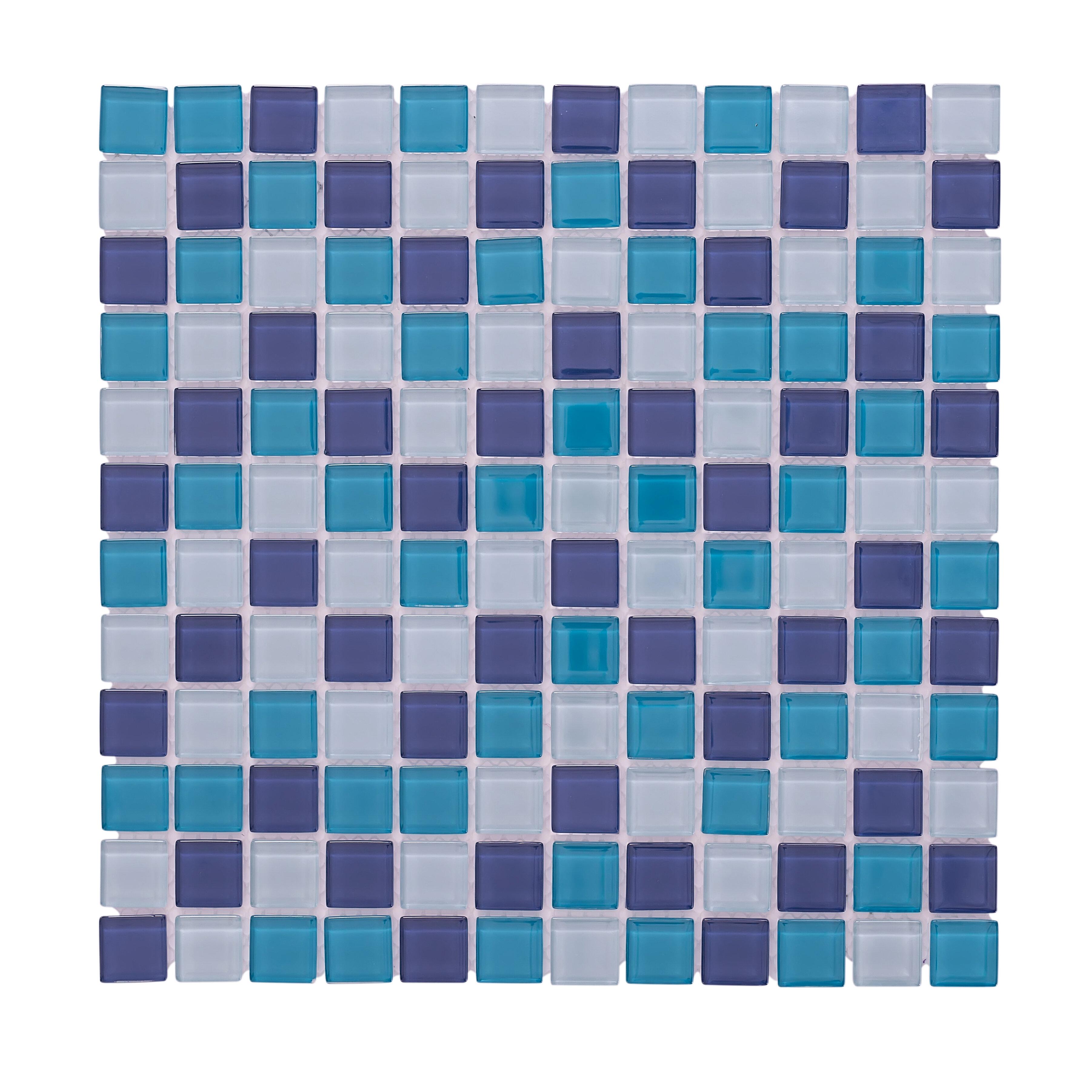 Vetromani Crystal Pool 12 X Gl Mosaic Backsplash Tile In Blue White Wayfair