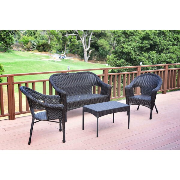Kentwood Resin Wicker 4 Piece Sofa Seating Group without Cushion by Alcott Hill