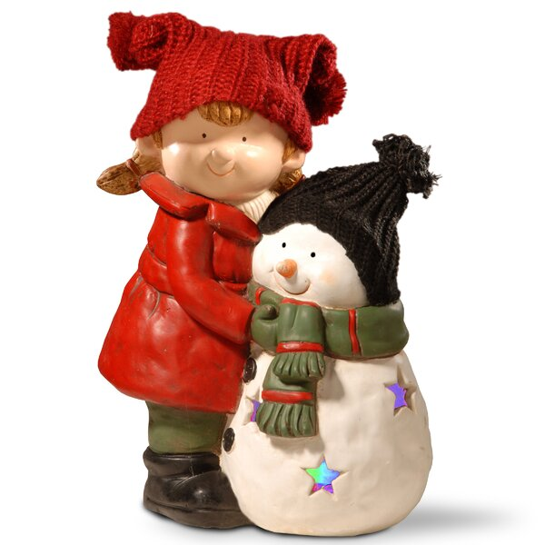 15 Lighted Girl and Snowman Décor Figurine by Red Barrel Studio