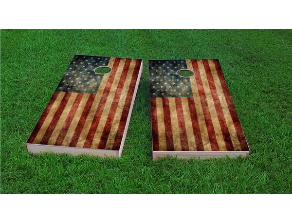 Worn American Flag Cornhole Game Set by Custom Cornhole Boards