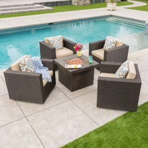 Burch 5 Piece Rattan Fire Pit Set With Cushions