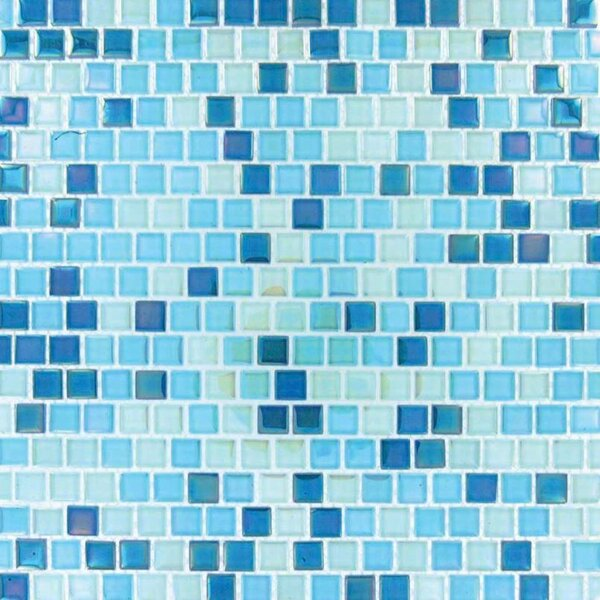 0.63 x 0.63 Glass Mosaic Tile in Blue by MSI