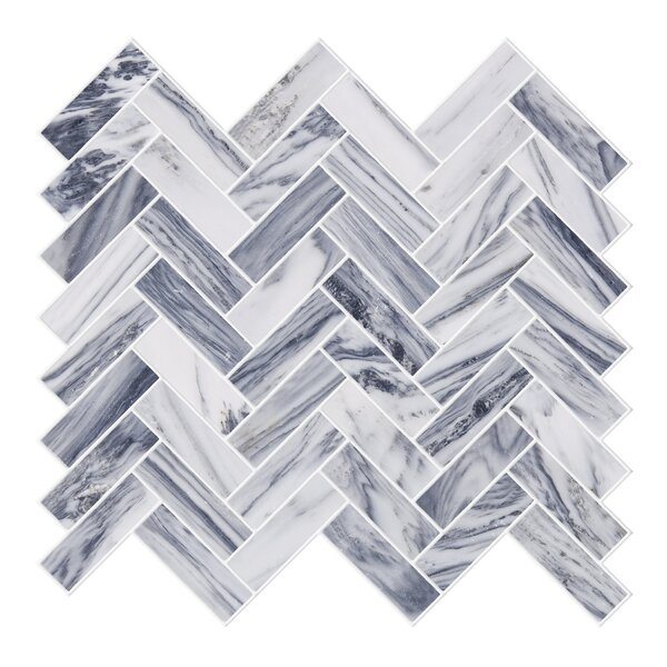 Herringbone 1 x 2 Marble Mosaic Tile in Gray/White by Byzantin Mosaic