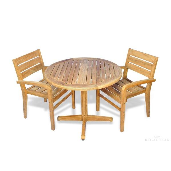 Bodalla 3 Piece Teak Dining Set by Bayou Breeze