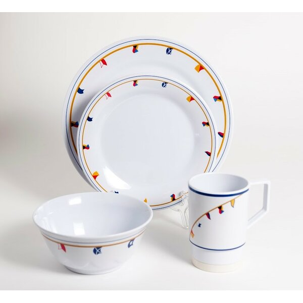 Decorated Flags Melamine 24 Piece Dinnerware Set, Service for 6 by Galleyware Company