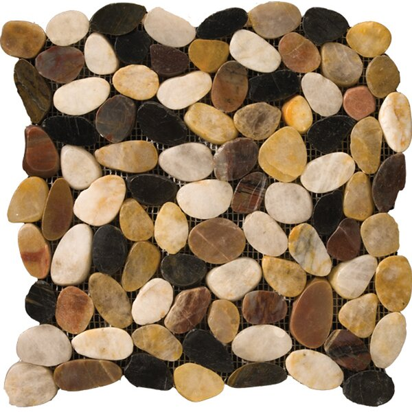 Flat Rivera Pebbles 12 x 12 Mosaic in 4-Color Blend by Emser Tile