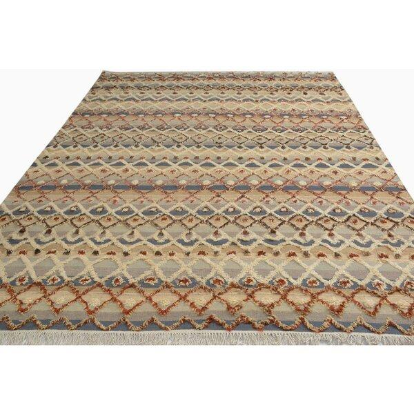 Kimberlee Moroccan Hand-Woven Wool Gray/Ivory Area Rug by Bloomsbury Market