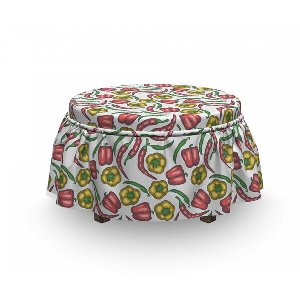 Sketch Peppers Ottoman Slipcover (Set Of 2) By East Urban Home