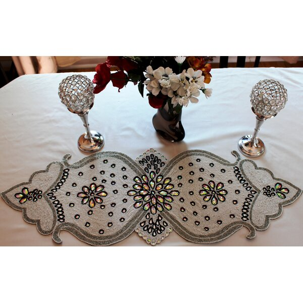 Zigler Glass Beaded Table Runner by Bloomsbury Market