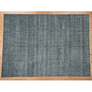 Bargain One-of-a-Kind Gabriela Hand-Knotted 10'1 x 14' Wool/SilkBlack Area Rug By Isabelline