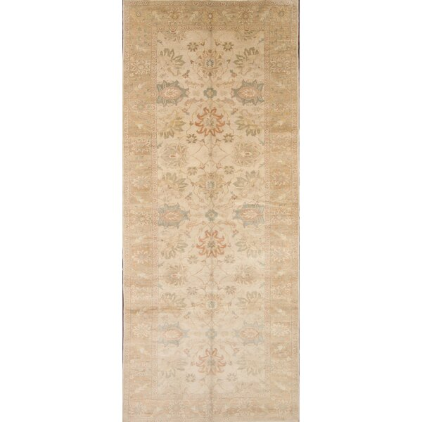 One-of-a-Kind Narberth Oushak Ziegler Egypt Oriental Hand-Knotted Wool Beige/Ivory Area Rug by Astoria Grand