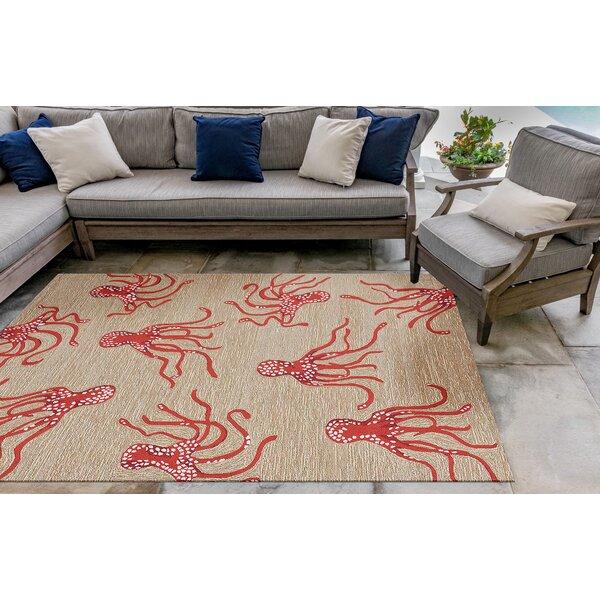 Northfield Octopus Hand-Tufted Orange/Beige Indoor/Outdoor Area Rug by Beachcrest Home