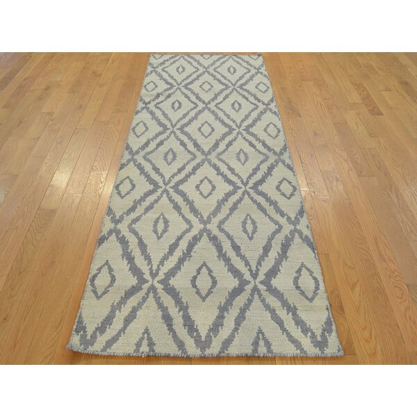 One-of-a-Kind Belleair Geometric Reversible Handmade Kilim Grey Wool Area Rug by Isabelline