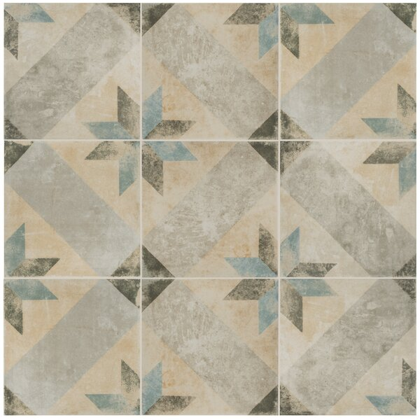 Herculanea 9.75 x 9.75 Porcelain Field Tile in Blue/Beige by EliteTile