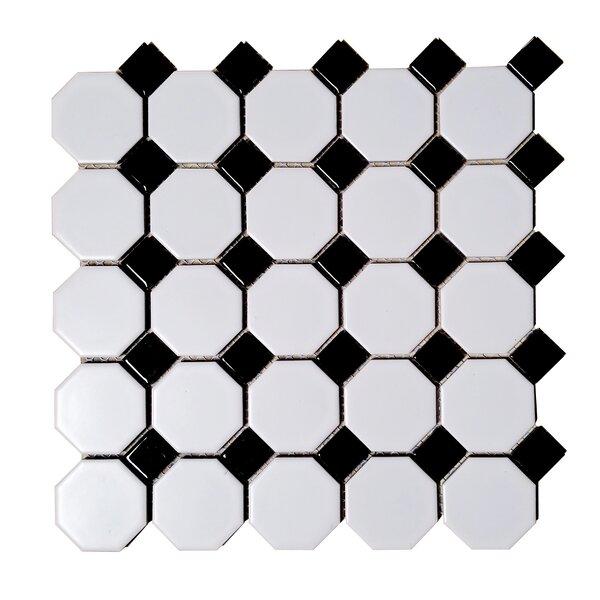 Monet Dot Hexagon Random Sized Porcelain Mosaic Tile in Black/White by Abolos