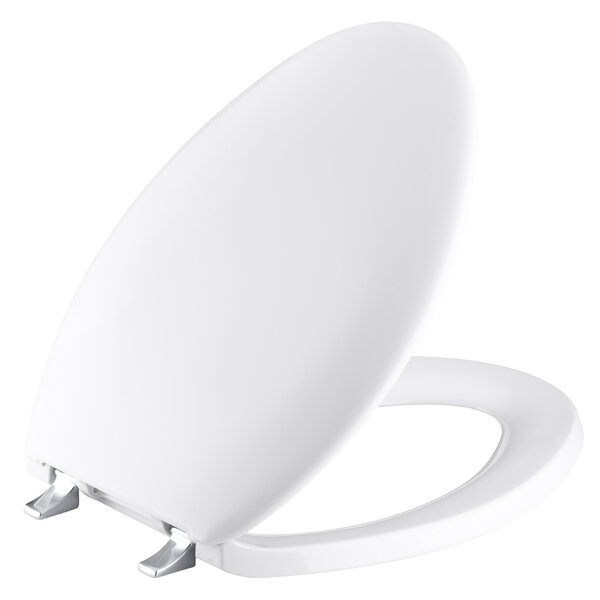 Turnings Elongated Toilet Seat with Polished Chrome Hinges by Kohler