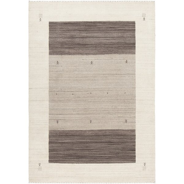 Roxanne Hand-Knotted Wool Cream/Brown Area Rug by Corrigan Studio