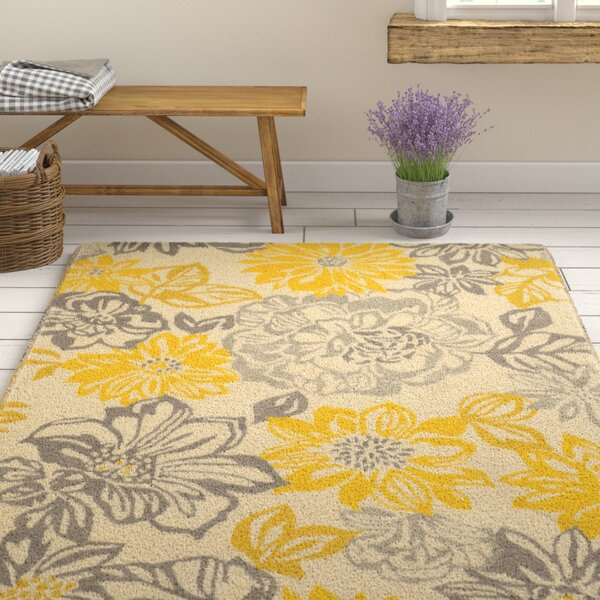 Amezcua Hand-Woven Gray/Yellow Area Rug by August Grove