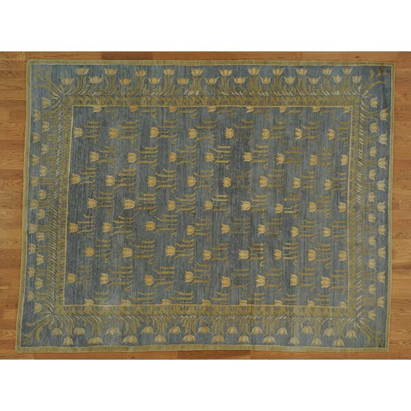 One-of-a-Kind Bettine Tulip Design Silver Hand-Knotted Grey Wool Area Rug by Isabelline