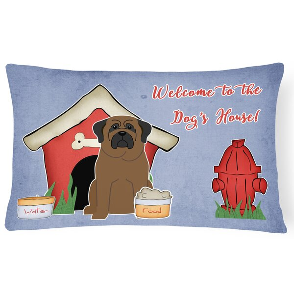 Dog House Rectangle Purple/Red Indoor/Outdoor Lumbar Pillow by East Urban Home