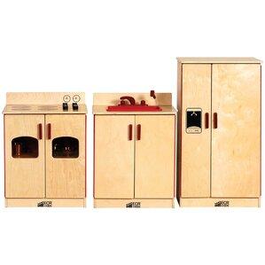 Wood Play Kitchen Set ecr4kids play kitchen sets & accessories you'll love | wayfair