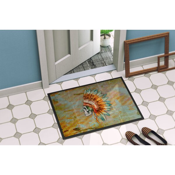 Indian Skull Indoor/Outdoor Doormat by East Urban Home