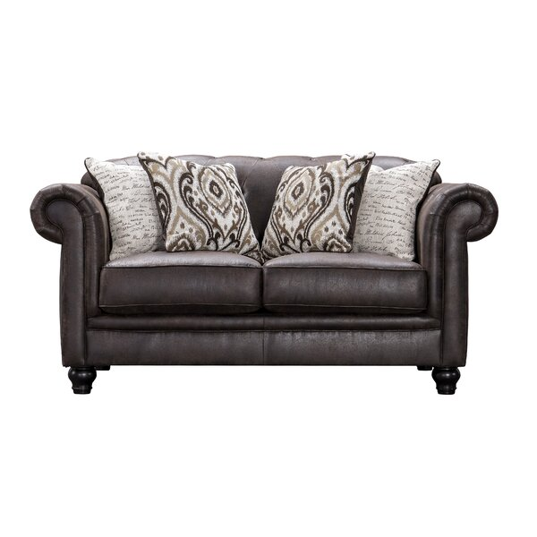 Review Acanva Chesterfield Tufted Leather-Like Loveseat